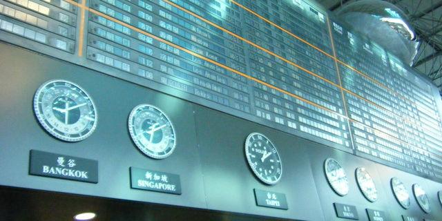 空港の時差時計